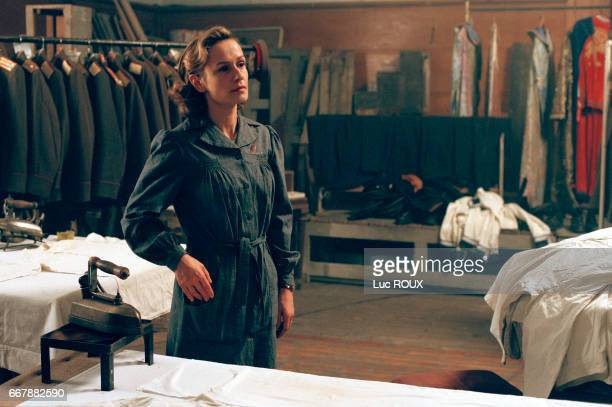 French actress Sandrine Bonnaire on the set of the film EstOuest directed by Regis Wagnier