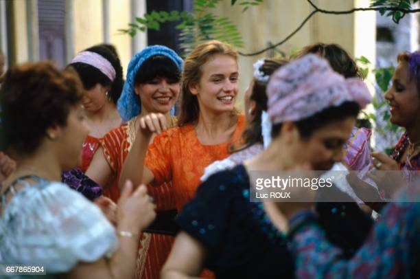 French actress Sandrine Bonnaire on the set of the film Les Innocents directed by Andre Techine