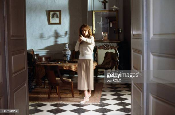 French actress Sandrine Bonnaire on the set of the film Sous le Soleil de Satan directed by Maurice Pialat The film won the Palme d'Or at the 1987...
