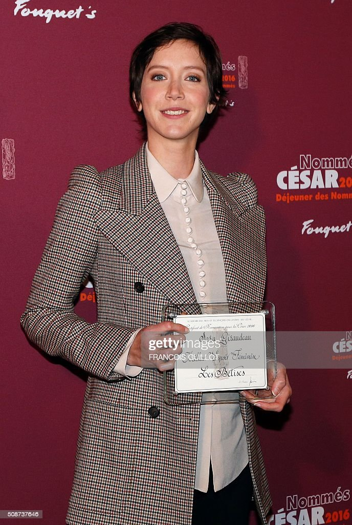 French actress Sara Giraudeau, nominated as Best Female Newcomer, poses during the nominations event for the 2016 César film awards, on February 6, 2016 in Paris. The 41st Ceremony for the Cesar film award, considered as the highest film honour in France, will take place on February 26, 2016. / AFP / FRANCOIS GUILLOT