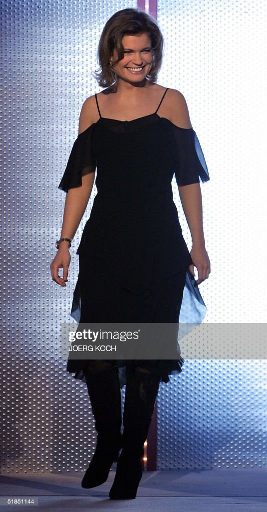 French actress Sarah Biasini daughter of legendary German actress Romy Schneider arrives as contestant of the German TV show 'Wetten Dass' 11...