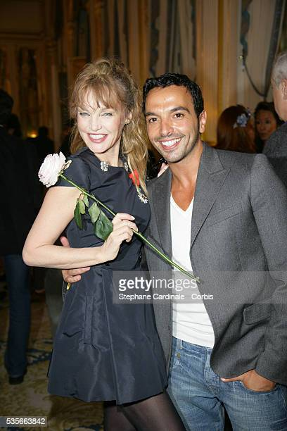 French actress singer director and screenwriter Arielle Dombasle honored as 'Chevalier de la Legion d'Honneur' with choreographer Kamel Ouali