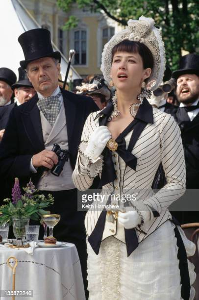 French actress Sophie Marceau as the literary heroine and English actor James Fox as her husband Karenin in the film 'Leo Tolstoy's Anna Karenina'...