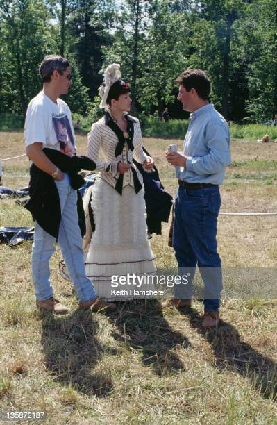 French actress Sophie Marceau as the literary heroine talking to director Bernard Rose on the set of the film 'Leo Tolstoy's Anna Karenina' 1997 The...