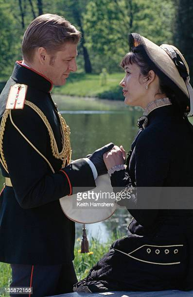 French actress Sophie Marceau as the literary heroine with English actor Sean Bean as her lover Vronsky in the film 'Leo Tolstoy's Anna Karenina'...