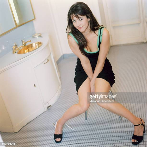French actress Sophie Marceau in a Guerlain store