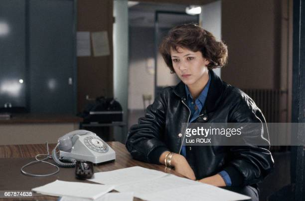 French actress Sophie Marceau on the set of Police directed by Maurice Pialat