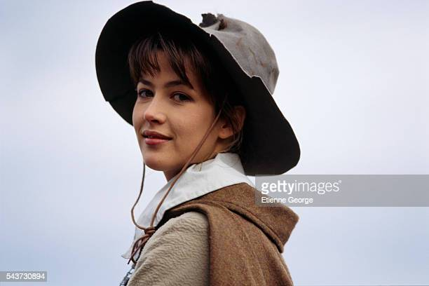 French actress Sophie Marceau on the set of the film La Fille d'Artagnan directed by French director Bertrand Tavernier