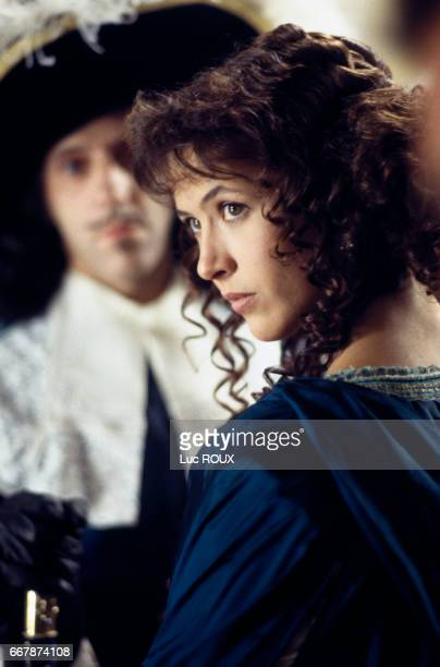 French actress Sophie Marceau on the set of the film Marquise directed by Vera Belmont