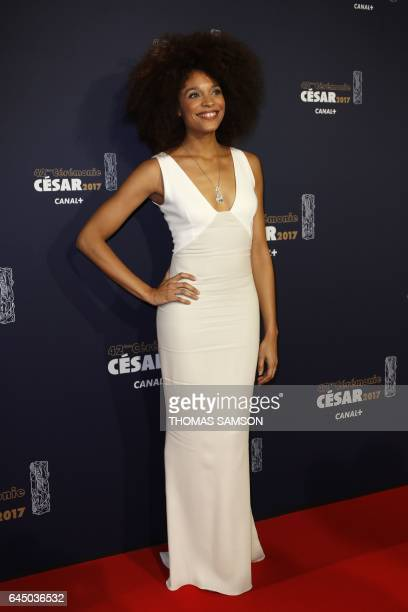 French actress Stefi Celma poses as she arrives for the 42nd edition of the Cesar Ceremony at the Salle Pleyel in Paris on February 24 2017 / AFP /...
