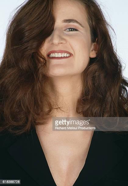 French actress Valerie Lemercier smiles in Paris