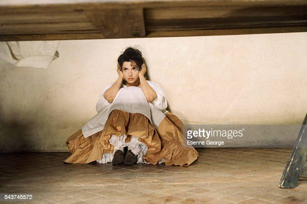 French actress Zabou on the set of the film 'Dandin' directed by French director Roger Planchon and based on Moliere's play 'Georges Dandin'