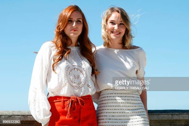 French actresses Alison Wheeler and Deborah Francois pose during a photocall for the Cabourg Romantic Film Festival in Cabourg northwestern France on...