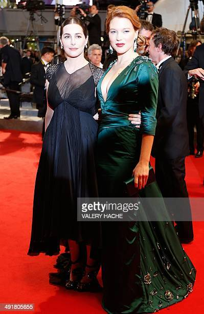 French actresses Amira Casar and Lea Seydoux pose as they leafe after the screening of the film 'SaintLaurent' at the 67th edition of the Cannes Film...
