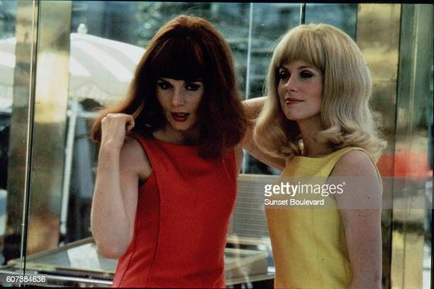 French actresses and sisters Françoise Dorleac and Catherine Deneuve on the set of Les demoiselles de Rochefort written and directed by Jacques Demy