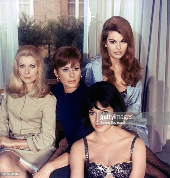 French actresses Catherine Deneuve Genevièvre Page Françoise Fabian and Maria Latour on the set of Belle de Jour based on the novel by French Jacques...
