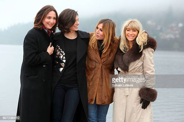 French actresses Elsa Zylberstein Louise Monot Mathilde Seigner and writer and screenwriter Sophie AudouinMamikonian pose during feature film jury...