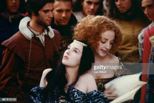 French actresses Isabelle Adjani and Dominique Blanc on the set of the 1994 film La Reine Margot directed by Patrice Chereau