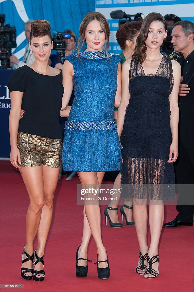 French actresses Melanie Bernier (L) and <a gi-track='captionPersonalityLinkClicked' href=/galleries/search?phrase=Ana+Girardot&family=editorial&specificpeople=6991847 ng-click='$event.stopPropagation()'>Ana Girardot</a> (C) and French-Spanish Astrid Berges-Frisbey (R) arrive at the closing ceremony of the 38th Deauville American Film Festival on September 8, 2012 in Deauville, France.