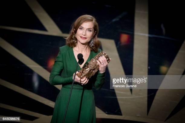 French actrice Isabelle Huppert gives her speech after winning the award for best actress during the Cesar Film Awards Ceremony at Salle Pleyel on...