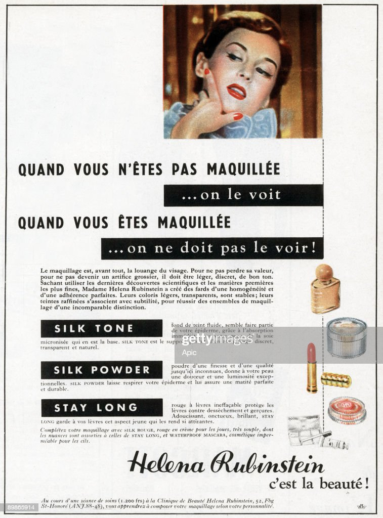 French advertisement for Helena Rubinstein products of beauty, 1953
