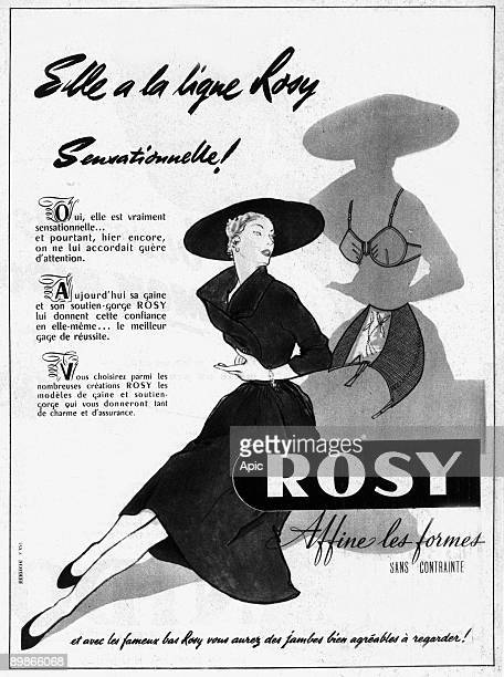French advertisement for Rosy girdle and bra 1953
