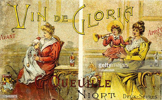 French advertisement for Vin de Gloria Manufactured by G Queuille Niort DeuxSèvres France Shows a before drinking and after drinking picture of...