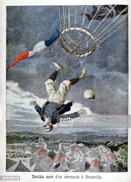A French aeronaut falling from a balloon over Beuzeville France From 'Le Petit Journal' 30 June 1899