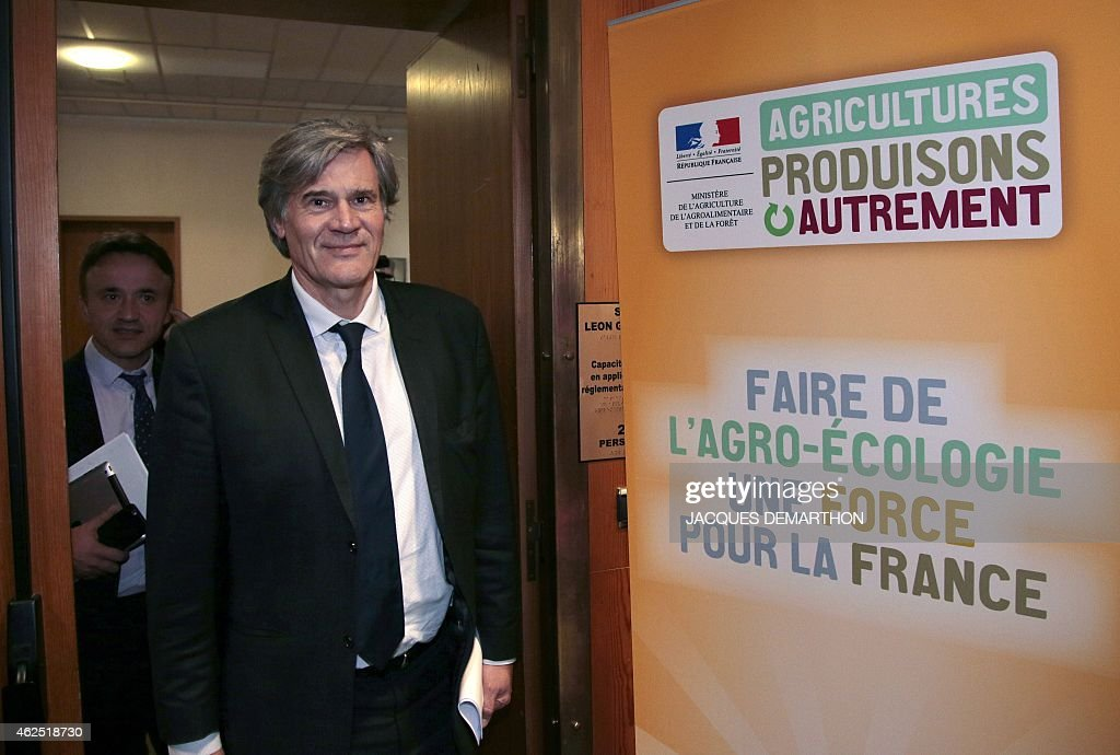 French Agriculture minister and Government spokesperson Stephane Le Foll arrives to deliver a speech to present a plan to reduce pesticide use in France, as part of a national conference entitled '2015: Year 1 of Agroecology', on January 30, 2015 at the Agricuture ministry in Paris.