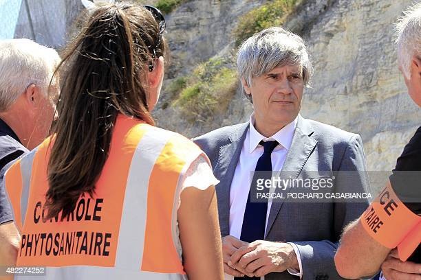 French Agriculture Minister and Government Spokesperson Stephane Le Foll meets with phytosanitation agents and veterinarian police on July 29 in the...