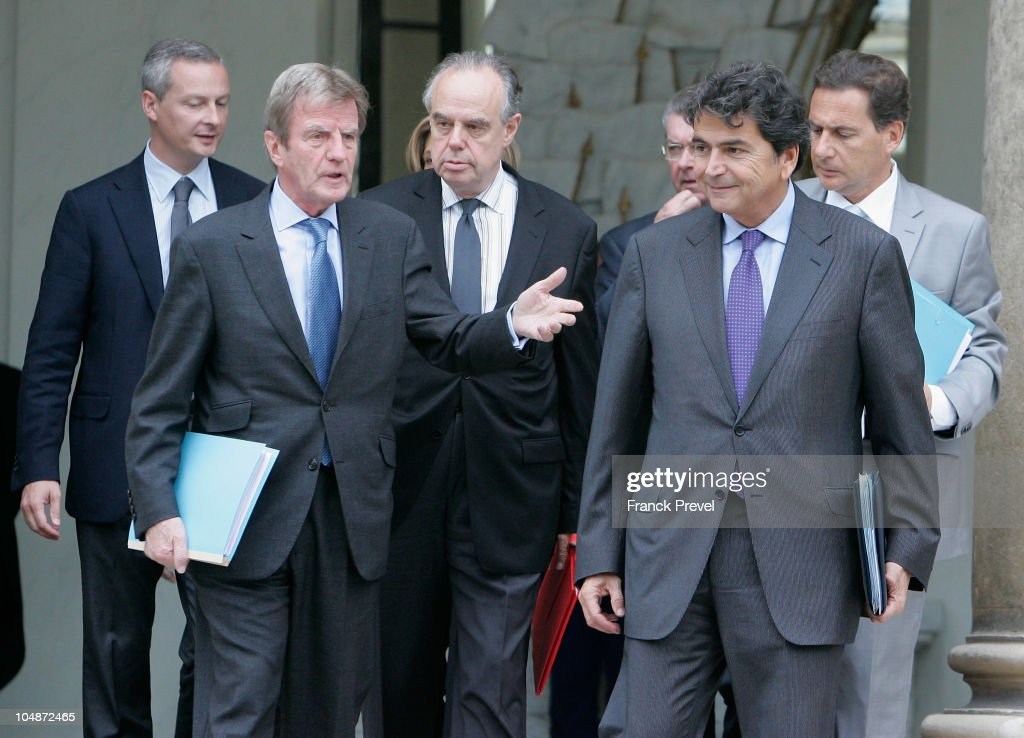 French Agriculture Minister Bruno Le Maire, French Foreign Minister, Bernard Kouchner, French Minister of Culture Frederic Mitterand, French Secretary of State for European Affairs Pierre Lellouche and France's Immigration Minister Eric Besson leave the weekly cabinet meeting at Elysee Palace on October 6, 2010 in Paris, France.