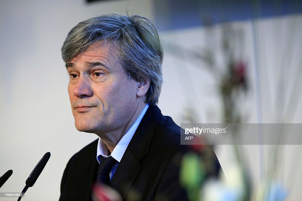 French Agriculture Minister Stephane Le Foll (R) attends a workshop for French and German young adults during the Gruene Woche (Green Week) as part of the celebration of the 50th anniversary of the Elysee treaty, at the exhibition grounds in Berlin, Germany on January 21, 2013.