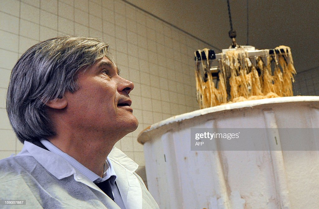 French Agriculture Minister Stephane Le Foll is pictured as he visits the sauerkraut unit of Gerald Christ, a French firm specialized in canned cooked dishes and condiments, on January 11, 2013 at Connerre, western France. AFP PHOTO / JEAN FRANCOIS-MONIER