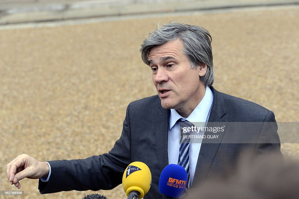 French Agriculture Minister Stephane Le Foll speaks to the press on February 27, 2013 at the Elysee Presidential Palace in Paris following the weekly cabinet meeting. AFP PHOTO BERTRAND GUAY