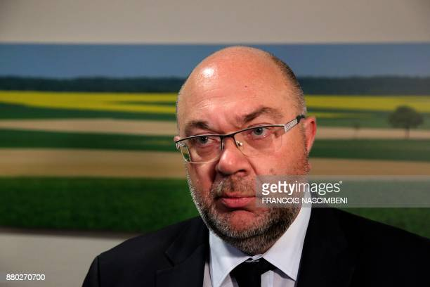 French Agriculture Minister Stephane Travert reacts to the decision by EU states to renew the licence of weedkiller glyphosate during a visit to the...