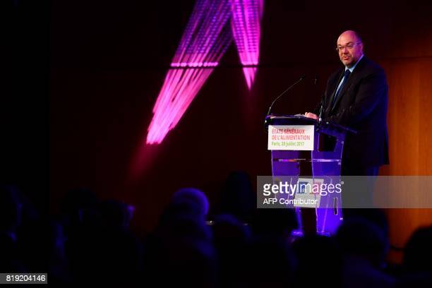 French Agriculture Minister Stéphane Travert delivers a speech during the 'Etats generaux de l'alimentation' at the Economy Ministry in Paris on July...