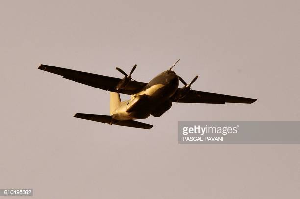 A French Air Force Transall C160 military transport aircraft is pictured during the 'Colibri' interallied exercise reuniting thousands of French...
