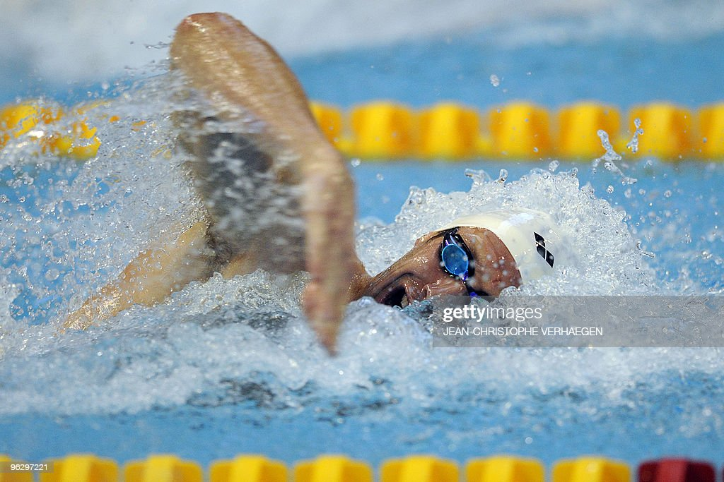 French Alain Bernard competes during the men's 100m freestyle finale at the Euro Meet 2010 on January 30, 2010 in Luxembourg. AFP PHOTO / JEAN-CHRISTOPHE VERHAEGEN