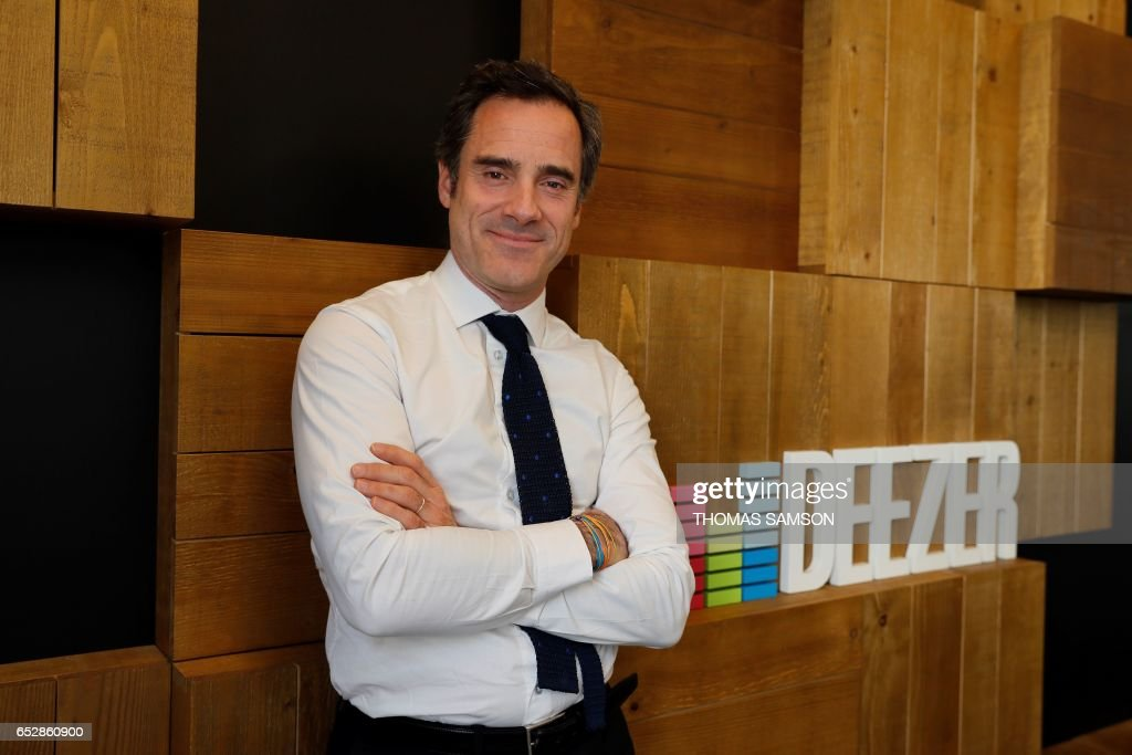 French Alexis de Gemini, CEO of Deezer France, poses in Paris, on March 13, 2017. Fnac and Deezer have entered into an alliance that aims to give a boost to recruiting subscribers to the French leader of music streaming. /