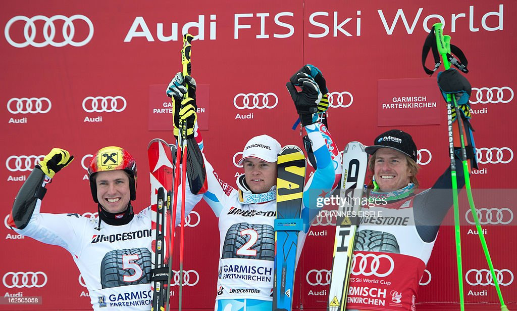 French Alexis Pinturault (C), Austrian Marcel Hirscher and US Ted Ligety (R) celebrate their places after the FIS World Cup men's Giant Slalom first run competition in Garmisch-Partenkirchen, southern Germany, on February 24, 2013. Alexis Pinturault won the competition, Austrian Marcel Hirscher placed second and US Ted Ligety placed third.