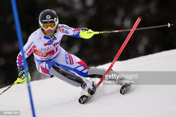 French Alexis Pinturault misses a gate during the Men Slalom race at the Alpine ski World Cup finals on March 17 2013 in Lenzerheide AFP PHOTO /...