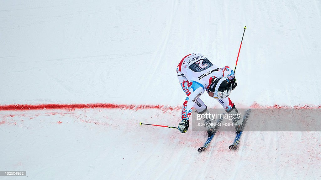 French Alexis Pinturault reacts after the FIS World Cup men's Giant Slalom first run competition in Garmisch-Partenkirchen, southern Germany, on February 24, 2013. Alexis Pinturault won the competition, Austrian Marcel Hirscher placed second and US Ted Ligety placed third.