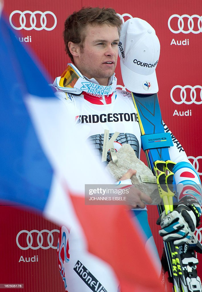 French Alexis Pinturault reacts after the FIS World Cup men's Giant Slalom first run competition in Garmisch-Partenkirchen, southern Germany, on February 24, 2013. Alexis Pinturault won the competition, Austrian Marcel Hirscher placed second and US Ted Ligety placed third. AFP PHOTO / JOHANNES EISELE
