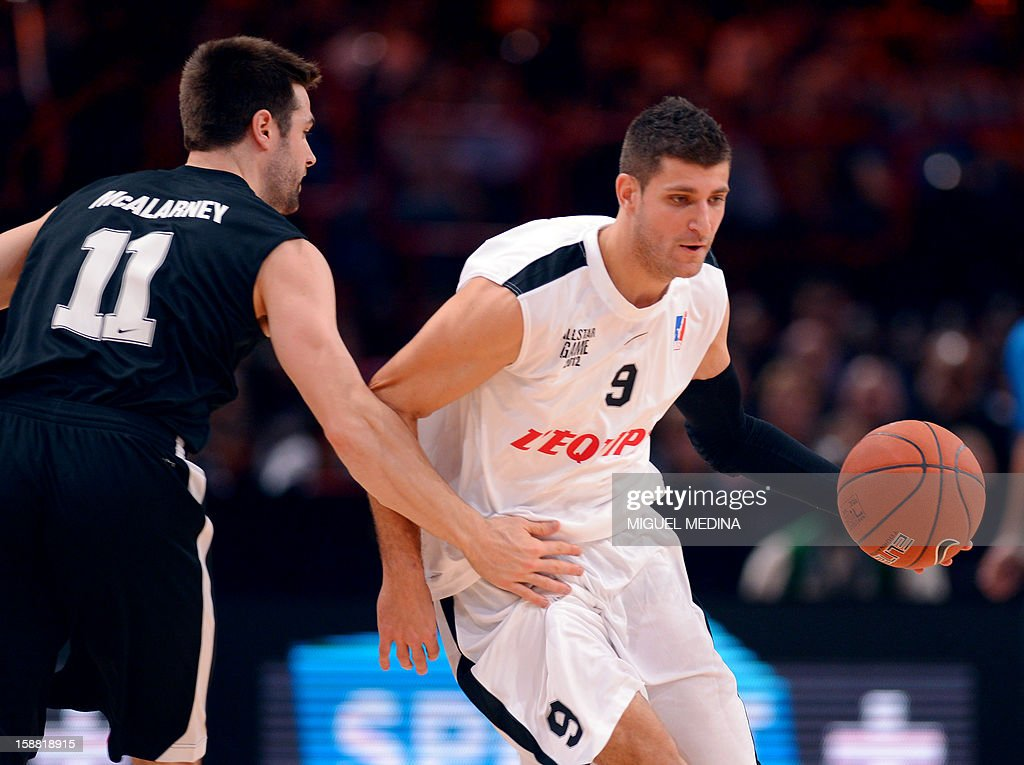 French All star player Antoine Diot (R) vies with Foreign All Star player Kyle McAlarney during France's national basketball league (LNB) 2010 All Star Game match on December 30, 2012 at the Palais Omnisport de Paris-Bercy (POPB) in Paris.