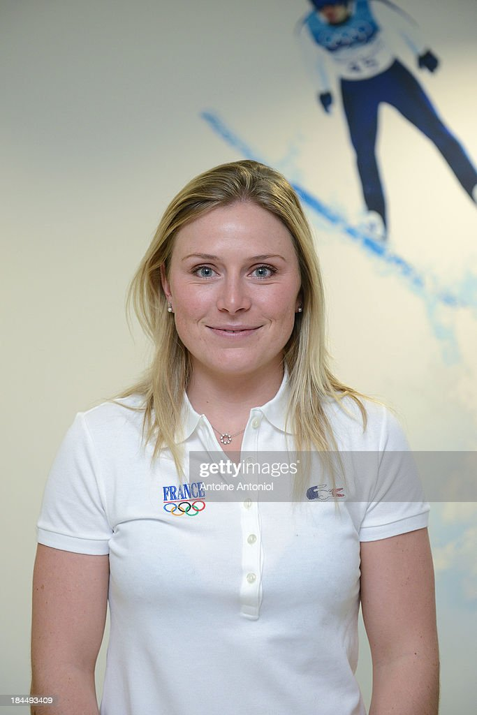French alpine ski champion <a gi-track='captionPersonalityLinkClicked' href=/galleries/search?phrase=Tessa+Worley&family=editorial&specificpeople=855344 ng-click='$event.stopPropagation()'>Tessa Worley</a> poses before a press conference to announce the French flag bearer for the Sochi 2014 Winter Olympics was unveiled on October 14, 2013 in Paris, France.