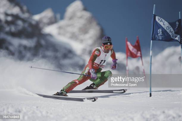French alpine skier Alain Feutrier pictured in action competing for the France team to finish in 19th place in the Men's giant slalom skiing event...
