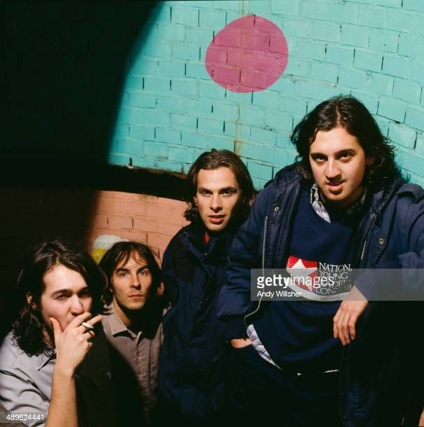 French alternative rock group Phoenix circa 2000 Left to right guitarist and keyboard player Laurent Brancowitz singer Thomas Mars bassist Deck...