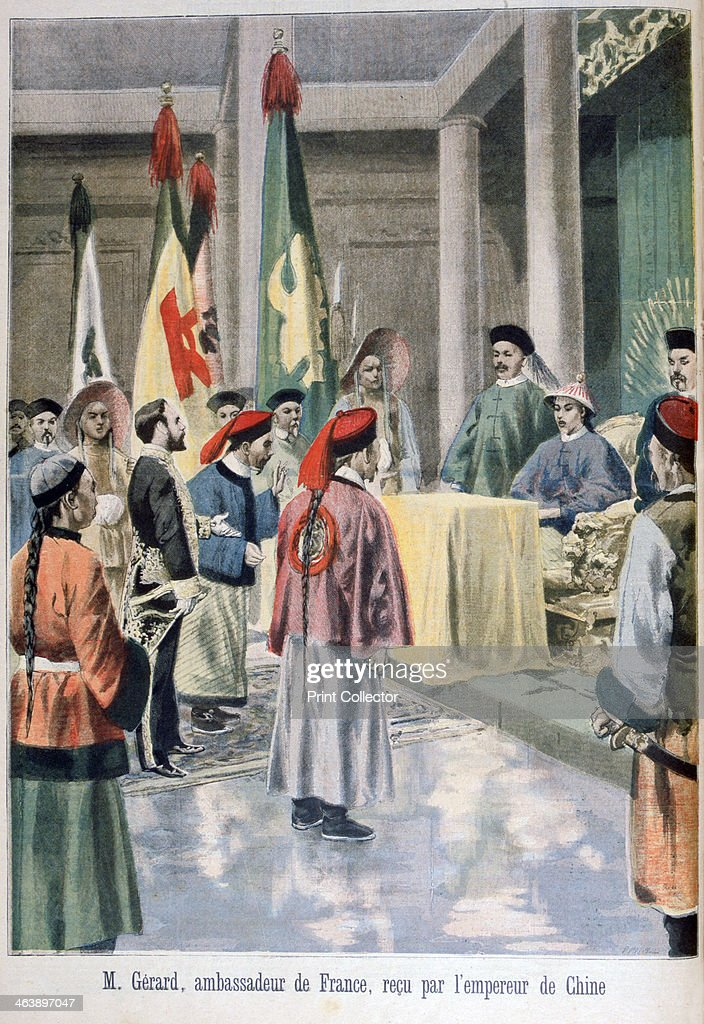 French Ambassador Gérard before the Guangxu Emperor of China 1895 An illustration from Le Petit Journal 20th January 1895