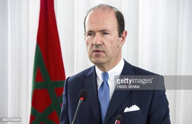 French ambassador in Rabat JeanFrançois Girault gives a speech on March 11 2017 in the Moroccan city of M'diq during a ceremony commemorating French...