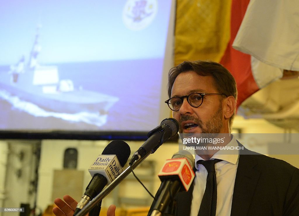 French ambassador Jean-Marin Schuh talks during a press conference aboard French naval ship Aconit at Sri Lanka's Colombo harbour on April 29, 2016. The French navy vessel is on a week-long visit to Sri Lankas main sea port of Colombo. / AFP / LAKRUWAN